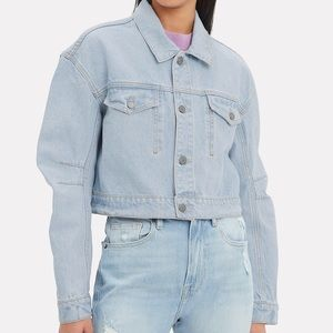 GRLFRND Lacy light wash crop denim jacket